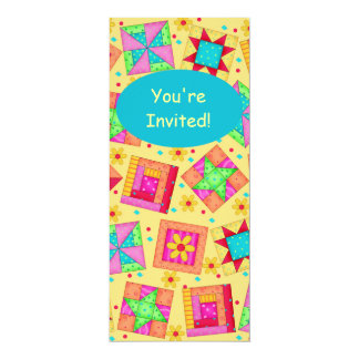 Sunny Yellow & Turquoise Patchwork Quilt Block Art 4x9.25 Paper Invitation Card