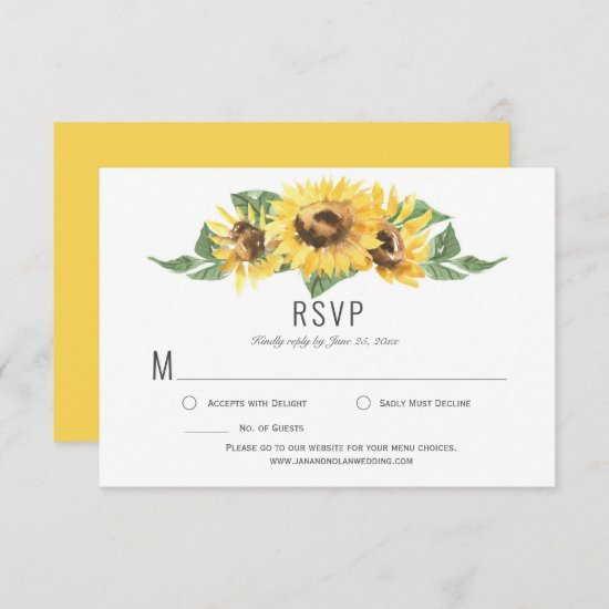 Sunny Yellow Watercolor Sunflowers RSVP |