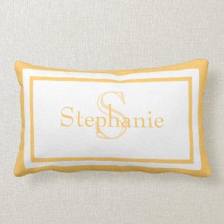 Sunny Yellow White Monogram Name Keepsake Pillow