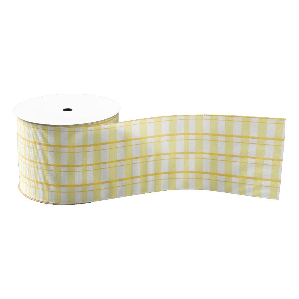 "Sunny Yellow & White Plaid 3"" Grosgrain Ribbon"
