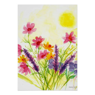 Sunny Yellow  wild flower Watercolor Poster