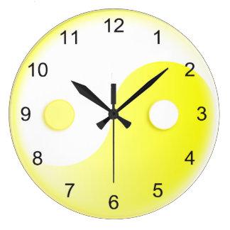 Sunny Yellow Yin & Yang Large Clock