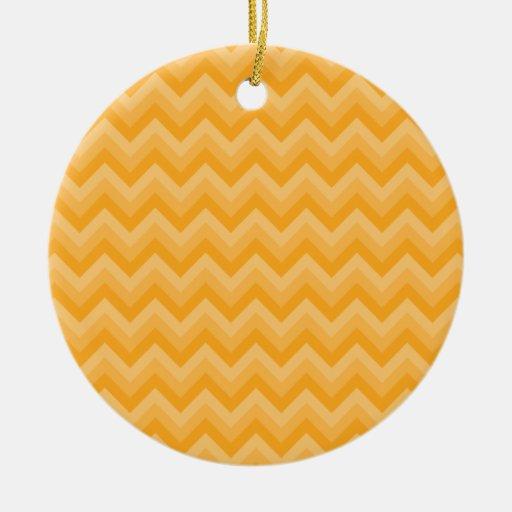 Sunny Yellow Zig Zag Pattern. Double-Sided Ceramic Round Christmas Ornament