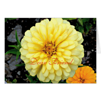 Sunny Yellow Zinnia Flower Dear Friend Card