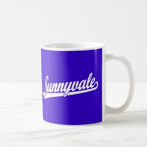 Sunnyvale script logo in white coffee mug