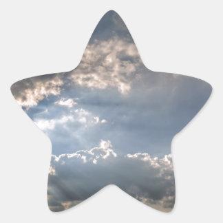 Sunray through clouds star sticker