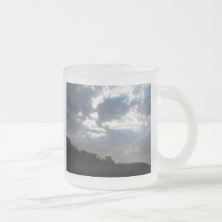 Sunrays breaking through frosted glass coffee mug