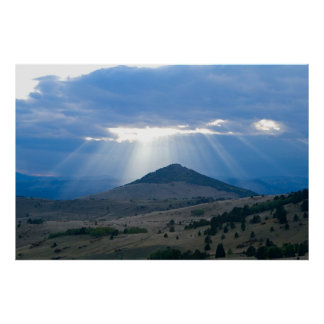 Sunrays over Peak Poster