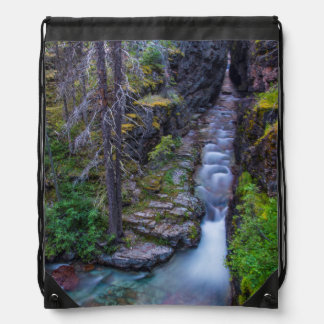 Sunrift Gorge In Glacier National Park, Montana Drawstring Backpacks