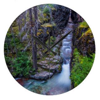 Sunrift Gorge In Glacier National Park, Montana Large Clock