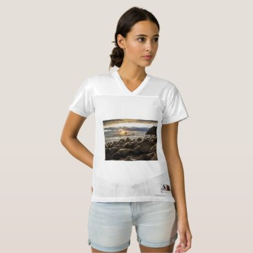 Beach Themed sunrise-1239727 women's football jersey