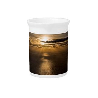 Sunrise above the Atlantic ocean Beverage Pitcher