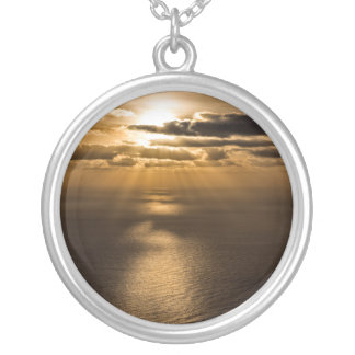 Sunrise above the Atlantic ocean Silver Plated Necklace