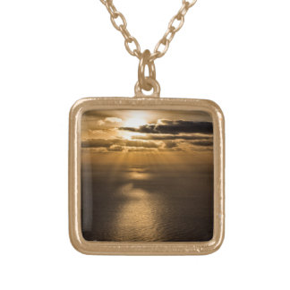 Sunrise above the Atlantic ocean Square Pendant Necklace