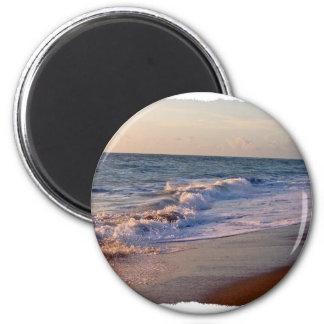 Sunrise along Florida beach choppy waves Fridge Magnets