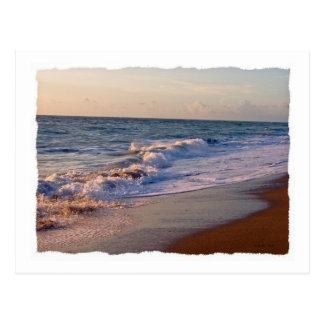 Sunrise along Florida beach choppy waves Postcard