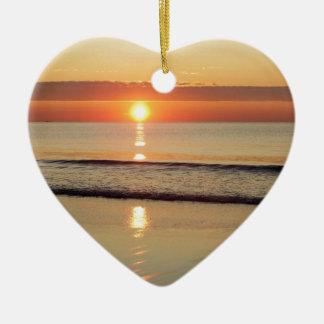 Sunrise Along Hampton Beach New Hampshire Ceramic Ornament