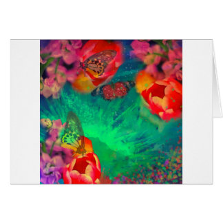 Sunrise among flowers and buterflies card