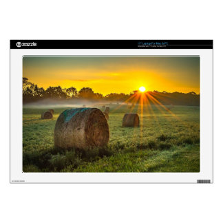 "Sunrise and Bales 17"" Laptop Decal"