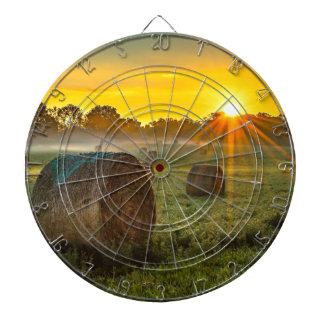 Sunrise and Bales Dartboard With Darts