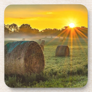 Sunrise and Bales Drink Coaster
