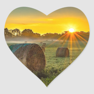 Sunrise and Bales Heart Sticker