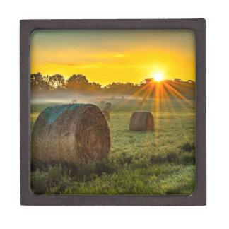 Sunrise and Bales Keepsake Box