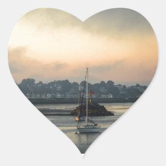 Sunrise and Boats Heart Sticker