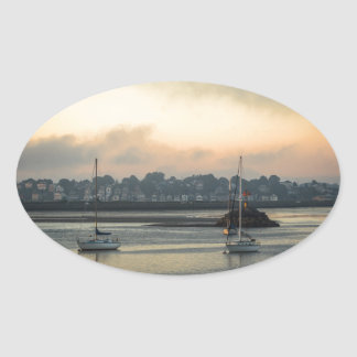 Sunrise and Boats Oval Sticker
