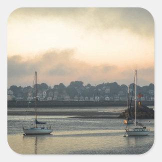 Sunrise and Boats Square Sticker