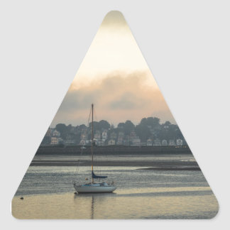 Sunrise and Boats Triangle Sticker