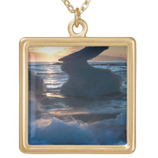 Sunrise and iceberg formation on the beach square pendant necklace
