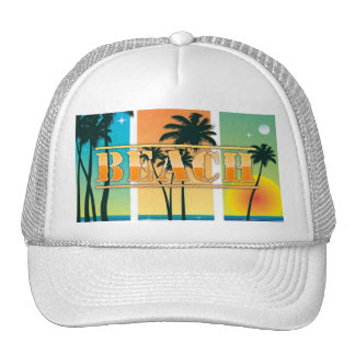 Sunrise and Palm Trees Sparkle Beach Hat