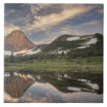 Sunrise and reflection, Glacier National Park, Large Square Tile
