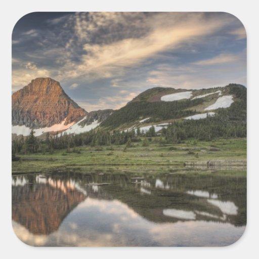 Sunrise and reflection, Glacier National Park, Square Sticker