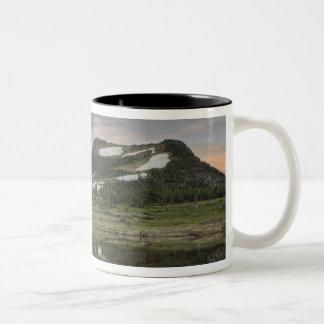 Sunrise and reflection, Glacier National Park, Two-Tone Coffee Mug
