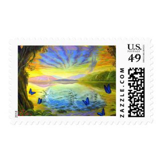 Sunrise and River Of Life Postage Stamp