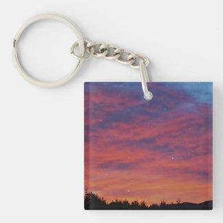 Sunrise and Stars, Oceanside Sunrise Double-Sided Square Acrylic Keychain