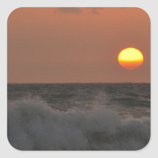 Sunrise and Waves Square Sticker