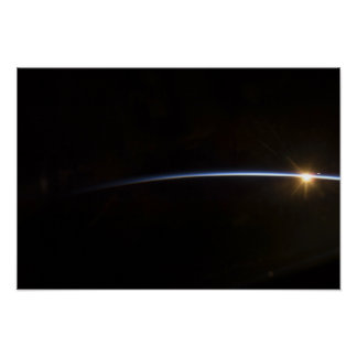 Sunrise as viewed in space poster
