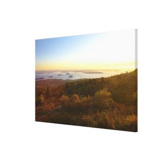 Sunrise at Cadillac Mountain with Hikers Canvas Print