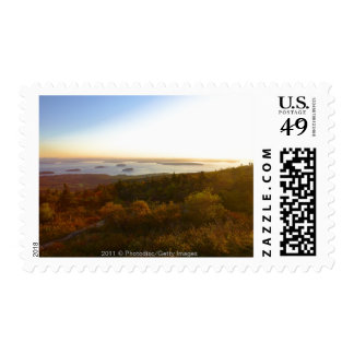 Sunrise at Cadillac Mountain with Hikers Postage Stamp