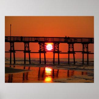 Sunrise at Cherry Grove Pier, SC Poster