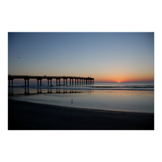 sunrise at fishing pier poster