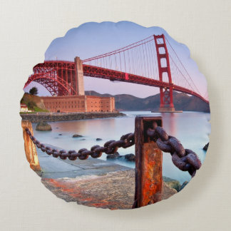 Sunrise At Fort Point Round Pillow