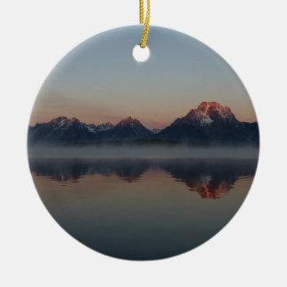 Sunrise at Jackson Dam Grand Teton National Park Ceramic Ornament