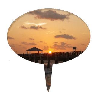 Sunrise at Juno Beach Pier Cake Topper