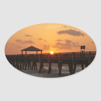 Sunrise at Juno Beach Pier Oval Sticker