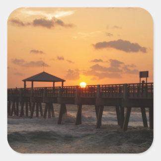 Sunrise at Juno Beach Pier Square Sticker
