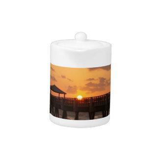 Sunrise at Juno Beach Pier Teapot